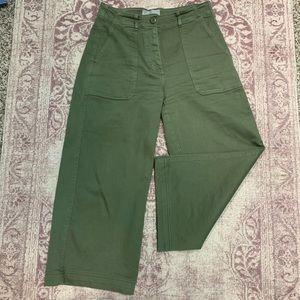 Everlane Green Wide Leg Crop Utility Pants Size 4